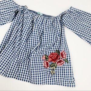 Karlie off shoulder gingham print embroidered top